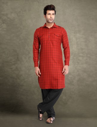 Maroon cotton checks design pathani suit