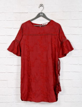 Maroon cotton comfortable long top