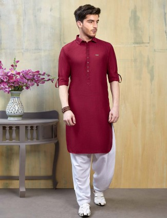Maroon cotton fabric solid pathani suit