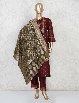 Maroon cotton festive punjabi pant suit