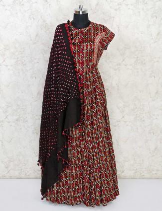Maroon cotton festive wear anarkali suit