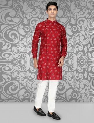 Maroon cotton full buttoned placket kurta suit