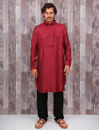 Maroon cotton pathani suit