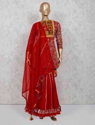 Maroon cotton printed punjabi sharara suit