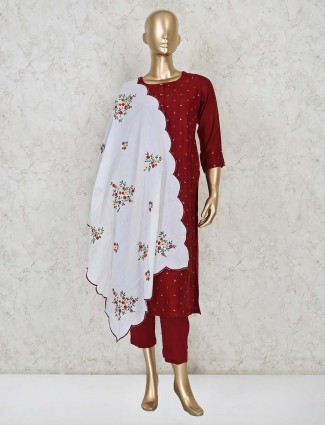 Maroon cotton punjabi pant suit with dupatta