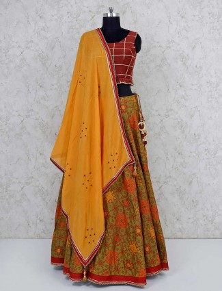 Maroon cotton round neck lehenga choli