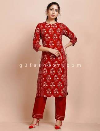 Maroon cotton round neck printed pant suit