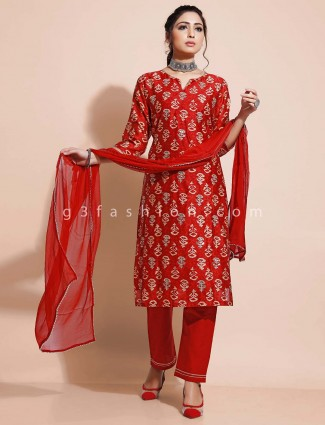 Maroon cotton salwar suit for festivals