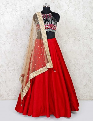 Maroon cotton silk lehenga choli