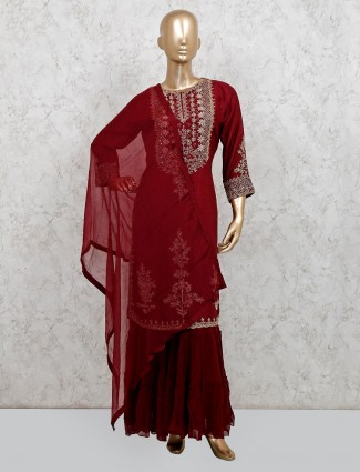 Maroon cotton silk party wear punjabi sharara suit