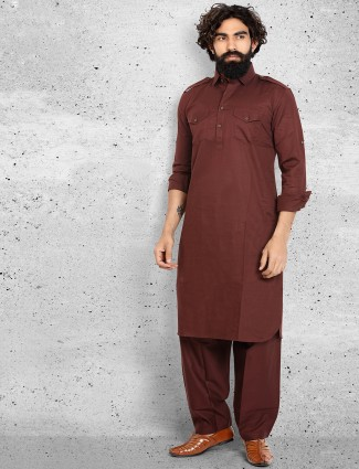 Maroon cotton solid pathani suit