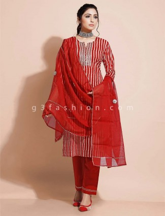 Maroon deisgner pant salwar suit in cotton for festivals