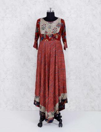 Maroon designer festive wear kurti set