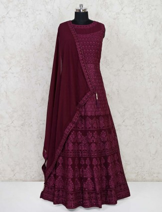 Maroon designer georgette floor length gown