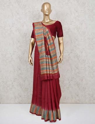 Maroon designer handloom cotton saree
