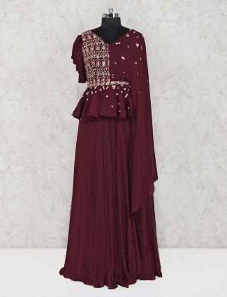 Maroon designer satin wedding salwar suit