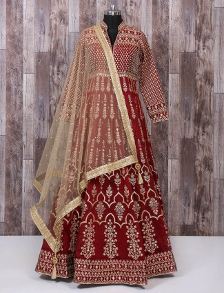Maroon designer silk anarkali suit for party