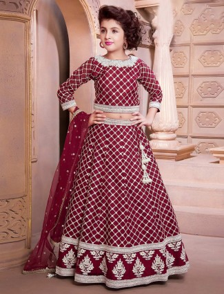 Maroon designer wedding lehenga choli for pretty girls
