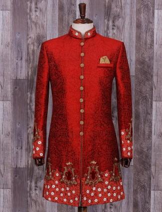 Maroon designer wedding wear indo western