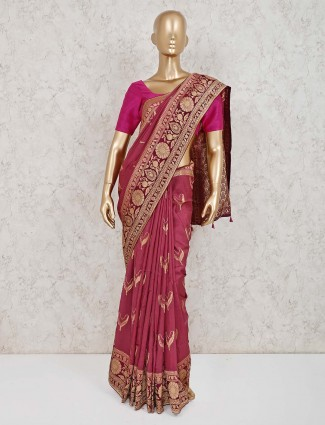 Maroon dola silk lovely saree