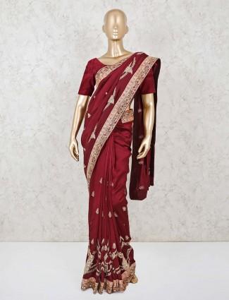 Maroon dola silk wedding function saree