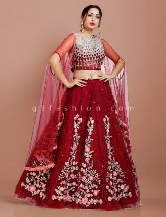 Maroon embroidery cape style jacket lehenga choli