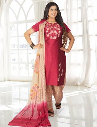 Maroon festive wear punjabi salwar suit
