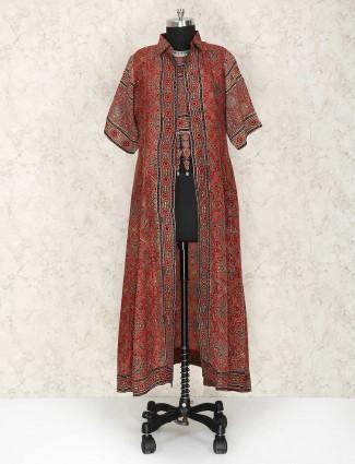 Maroon festive wear punjabi suit in jacket style