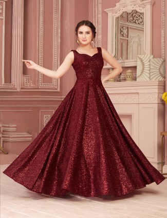 Maroon floor length gown in net