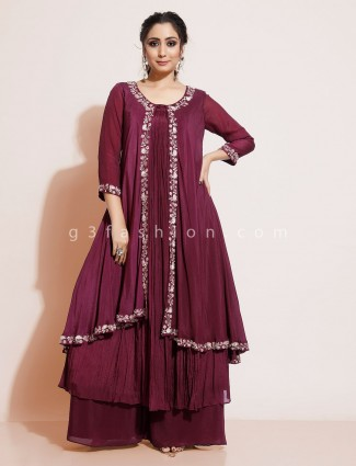 Maroon georgette designer palazzo suit for wedding