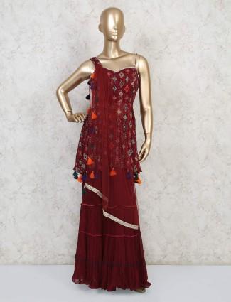 Maroon georgette festive wear punjabi sharara suit