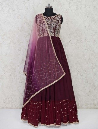 Maroon georgette floor length designer gown