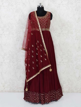 Maroon georgette floor length party wear anarkali suit