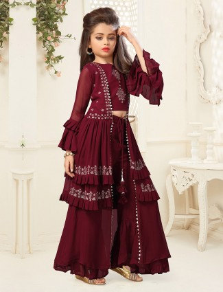 Maroon georgette mega sleeve suit