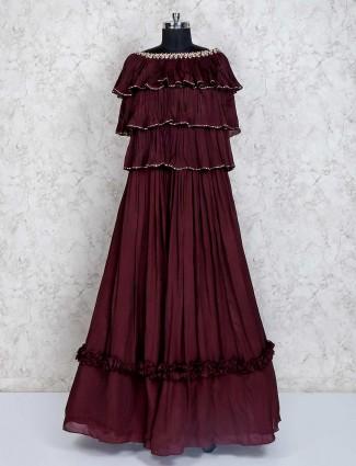 Maroon georgette wedding wear gown