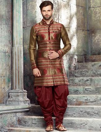 Maroon Gold silk kurta suit