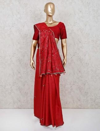 Maroon handloom cotton wedding saree