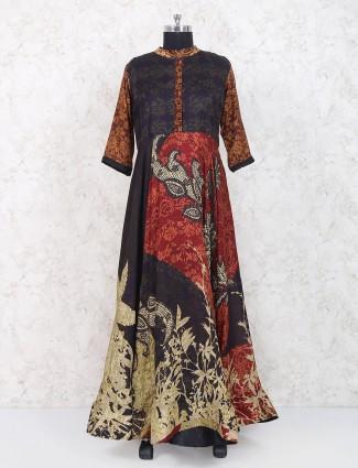 Maroon hue cotton festive wear long kurti