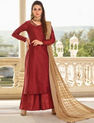 Maroon hue cotton silk fabric punjabi palazzo suit