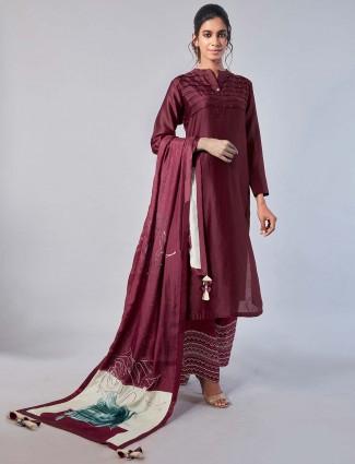 Maroon hue cotton silk festive wear punjabi palazzo suit