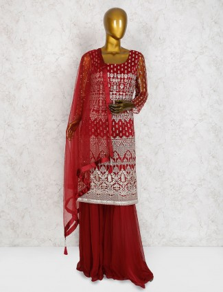 Maroon hue cotton silk punjabi sharara suit
