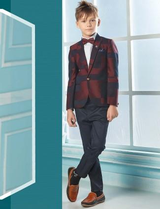 Maroon hue designer terry rayon tuxedo suit