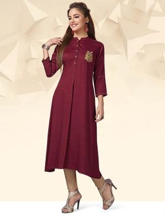 Maroon hue lovely cotton kurti