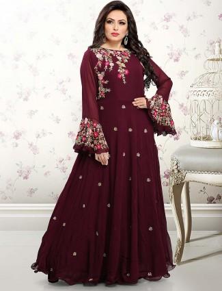 Maroon hue pretty floor length anarkali salwar suit