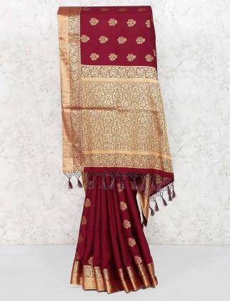 Maroon hue pretty saree in cotton silk