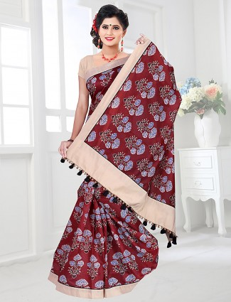 Maroon hue printed saree in cotton