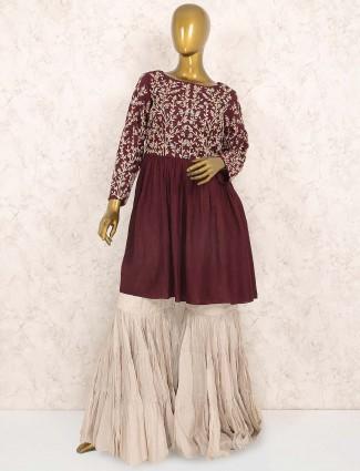 Maroon hue raw silk festive punjabi sharara suit