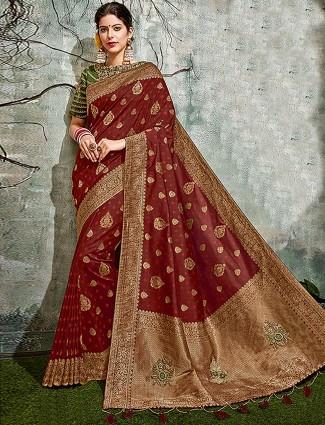 Maroon hue semi silk pretty saree