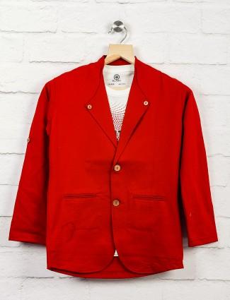 Maroon hue terry rayon fabric blazer