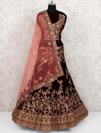 Maroon hue velvet fabric semi stitched lehenga choli